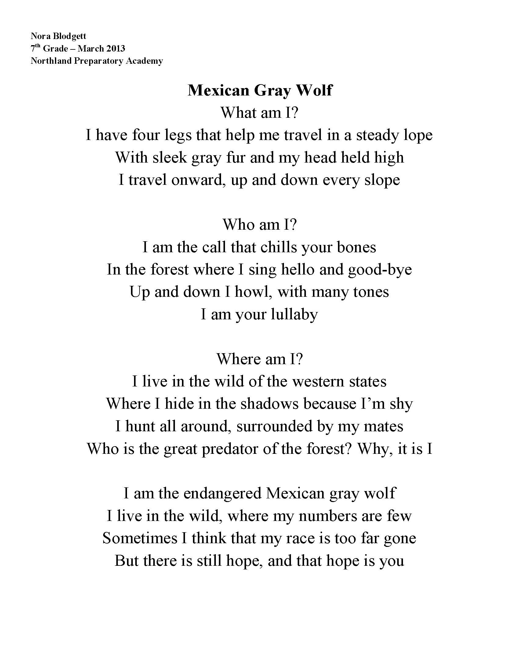 Mexican gray wolf poem by Nora Blodgett