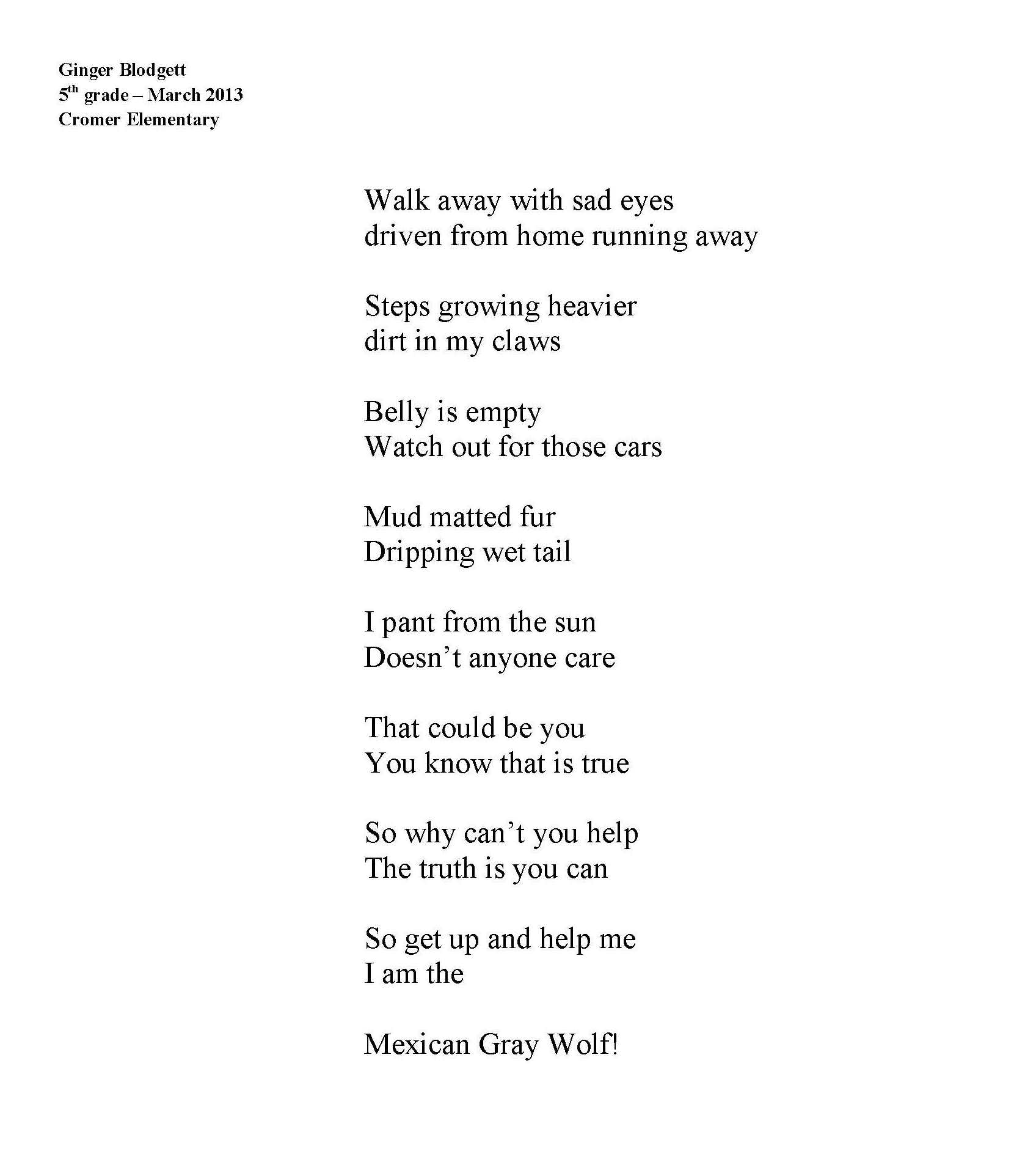 Mexican wolf poem by Ginger Blodgett