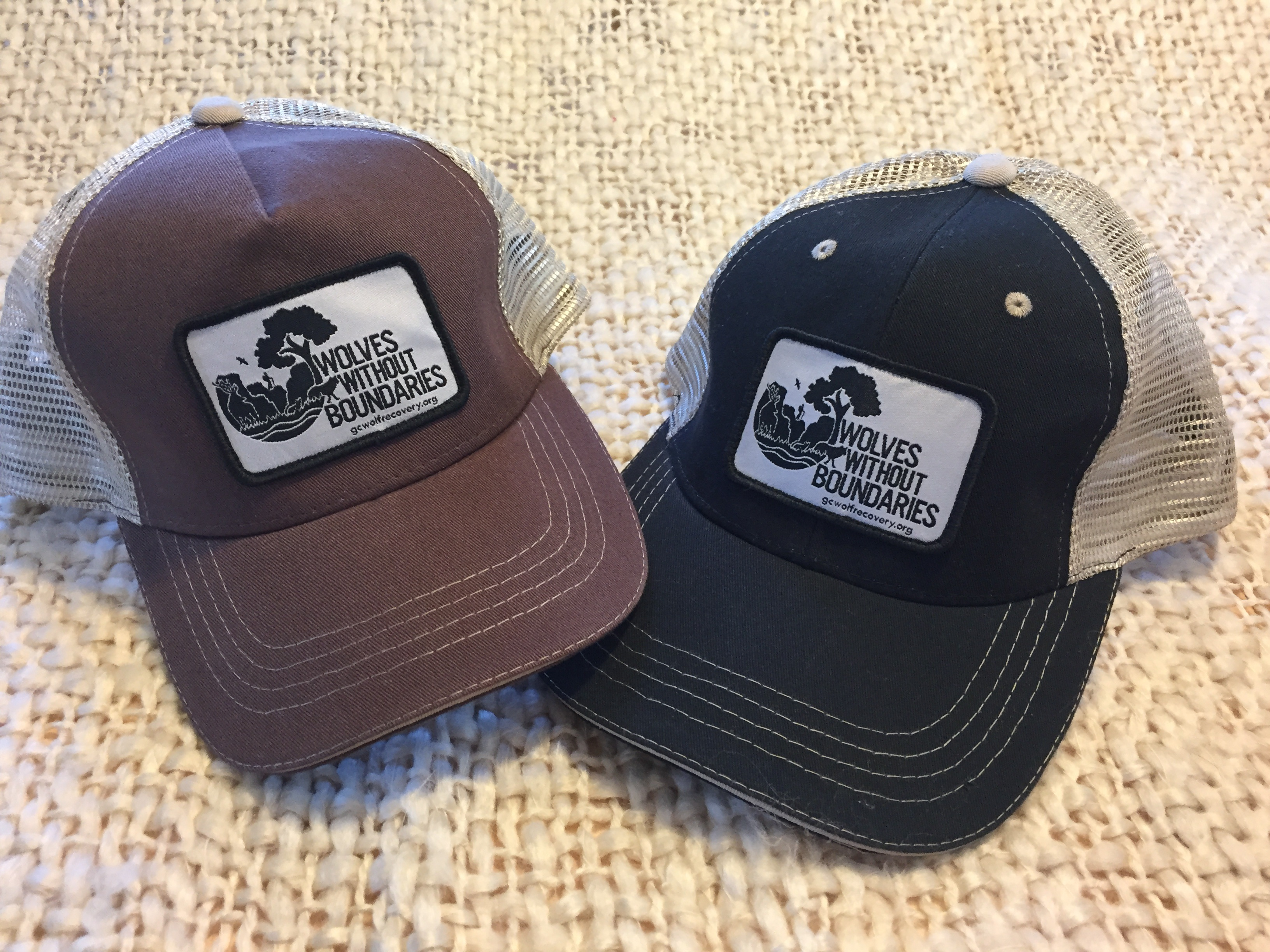 WWB brown and black trucker hats