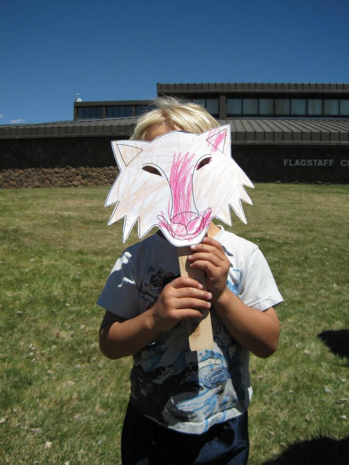 Child with Wolf Mask at Earth Day 2012