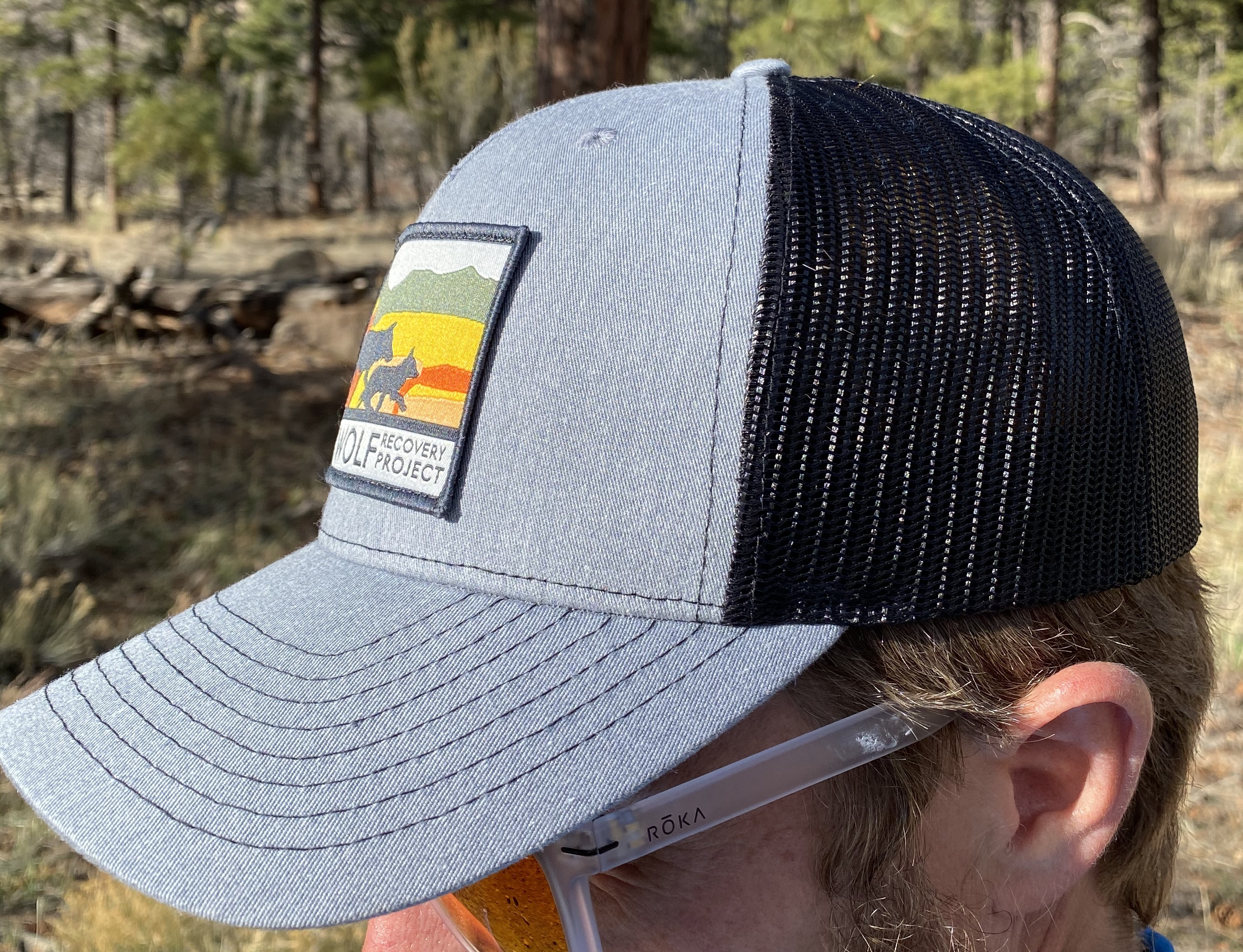 GCWRP logo gray black trucker hat side view