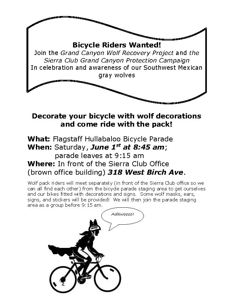 wolf bike parade flier for June 1 2013